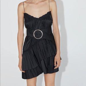 Zara belted mini dress ruffle asymmetric hem black